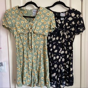 TWO 80s/90s Vintage Floral Romper Playsuits